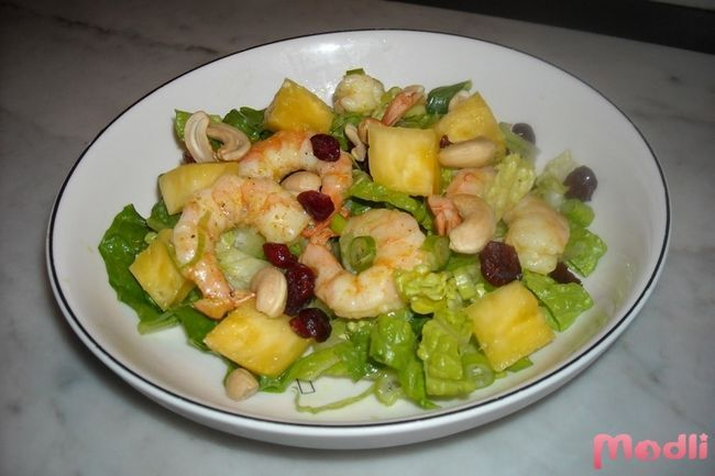 Salad with pineapple and shrimp